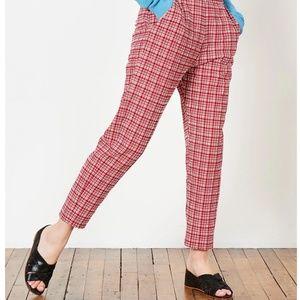 RACHEL COMEY Flat Westside Pant in Crimson Check
